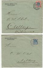 Netherlands: 2 Covers; Kohler Muller & Co, Amsterdam, to Aalborg, Denmark, 1899