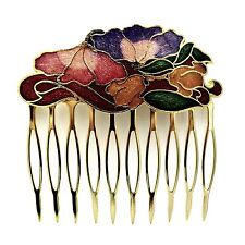 """Cloisonne 2.25"""" Hair Comb Red Flowers Painted Enamel Vintage Style Updo Pin Clip"""