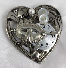 """Steampunk Heart Mask Clock Pearl Buttons Pin Brooch Artist Handmade 2.5 x 2.25"""""""