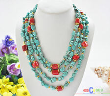 "S1897 4row 23"" 14mm baroque blue turquoise red coral bead necklace"