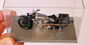 1/24 BROUGH SUPERIOR 1926 IXO MUSEUM MOTORCYCLE BLACK IN DISPLAY CASE RARE