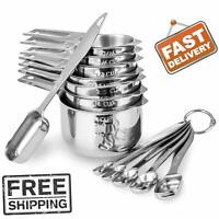 13 piece Measuring Cups and Spoons Set 18/8 Stainless Steel Heavy Duty Good Grip