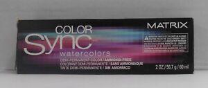 Matrix COLOR SYNC WATERCOLORS Demi-Permanent  Hair Color ~ Black Box ~ 2 fl oz!!