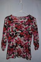Women's NY COLLECTION Multi Color Floral Knit Top/sweater size S