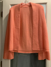 Luxurious Womens Pink Coral Long Sleeve Open Front Cashmere Cardigan Sweater S/M