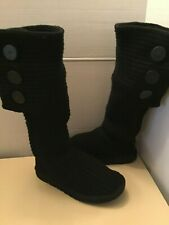 Uggs Australia Cardy 5819 women black tall knee high knit boots Size 7