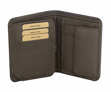 Trifold Wallet MENS Brown Italian GENUINE LEATHER LUXURY Coat Wallet Card Purse