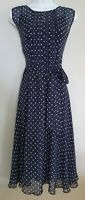 Womens Hobbs Blue Floral Embroidered Pure Silk Fit And Flare Two Piece Dress 16.