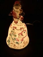 Vintage Ceramic Light Up Santa Claus Bell Table Decoration