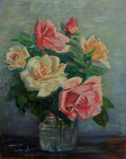 P A Cluzeau, French artist. Yellow and pink roses in a vase 1955