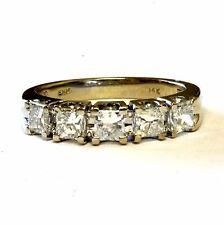 14k white gold womens princess .80ct diamond wedding band 3.1g ring estate