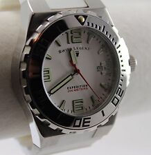 Swiss Legend Expedition Mens Watch, SS Case, White Dial, White Silicone Strap