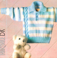 "Striped Baby  Sweater with Side Cable & Collar 16"" - 24"" DK Knitting Pattern"