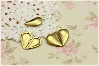 1pz charm  apribile meta cuore portafoto ciondolo color oro 25*15MM in ottone