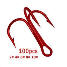 New Listing100pcs Red Treble Fishing Hooks 2# 4# 6# 8# 10# Fishing Tackle Barbed Hooks