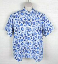 Shark Design Mens Seashell Button Down Shirt White Blue Size Large