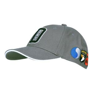 US Army Baseball Cap D-Day 101st Airborne Screaming Eagle Patches Flag Grey