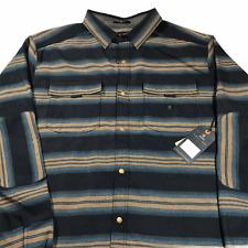 Roark Mens Diablo Long Sleeve Flannel Shirt Mid Weight Snap Front X Large Blue