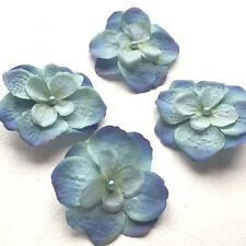 Silk Flower Blue Hydrangea Pearled Bridal Hair Accessory - Clip Pack of 4