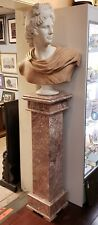 Early 20th Century Italian Carrara and Salmon Marble Apollo of Belvedere Bust