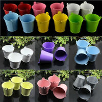 10Pcs Cute Metal Tin Pails Mini Bucket Wedding Party Ribbon Favor Gift Candy Box