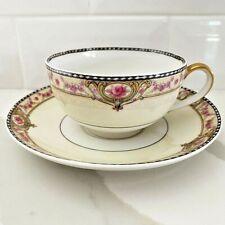 Vintage Theodore Haviland Limoges Porcelain China Tea Cup & Saucer Schleiger344d