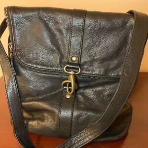 Fat Face Large Leather Mia Multi Functional Black Backpack or Shoulder Bag