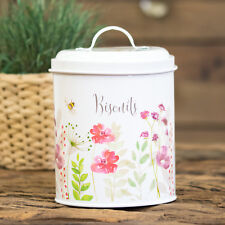 Round Cream Bee Floral Cookie Jar Biscuit Barrel Food Storage Canister Holder