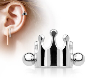 Helix cuff piercing with with crown 316L Surgical Steel