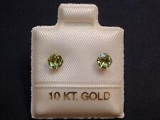 Peridot Ohrstecker Ohrringe - 3,5 mm - 10 Kt. Weiß Gold - 417 - Brillant Schliff