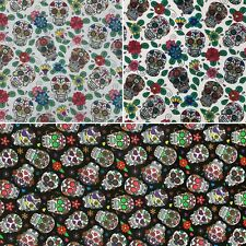 3 Col 100% Cotton Poplin Fabric Sugar Candy Skulls Day Of The Dead Flowers Masks