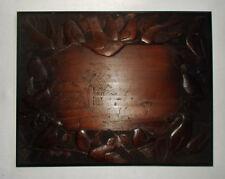 Antique European Folk Art Hand Carved Wood Panel / Plaque Birds Landscape