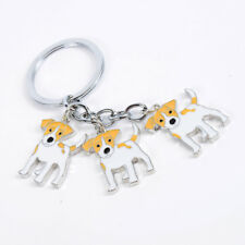 Jack Russel Terrier Dog Breed  Lovers Key Chain or Purse Charm 3 Dogs attached