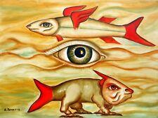 Original Oil Painting on canvas contemporary Art Surrealism modern green eye