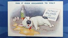 Reg Maurice Comic Postcard 1921 Scotch WHISKY Bottle ENGLISH BULLDOG PUPPY Theme