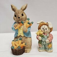 Bunny Figurines Lot of 2 Rabbit Easter Collectibles Gift Bundle