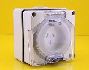 Clipsal 56SO315 Surface Mount Socket Outlet Single Phase 3 Pin 250V 15A IP66