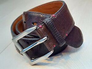 Mens designer Fausto Colato Milano Luxury Iguana Leather Belt - FREE SHIPPING