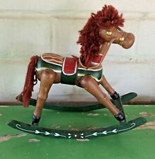 "Vintage Rocking Horse Hand Carved/Painted Solid Wood 11.5"" L 10.5"" H 4.5"" W"