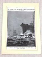 1914 WW1 Aufdruck Hms Dachs Britisch Royal Navy Zerstörer Schiff Deutsche U-Boot
