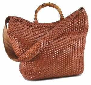 Authentic GUCCI Bamboo 2Way Hand Shoulder Bag Leather Brown D9596