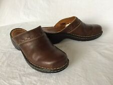 Josef Seibel Stitched Leather Ladies Mules Slip-on Shoes Clogs Brown Size 38 UK5