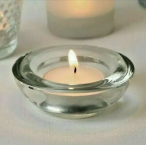 Set of 6 IKEA Round Tea Light Candle Holders Saucer Clear Heavy Glass Design