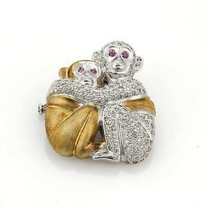 Estate 1.20ct Diamonds Sapphire Mother & Baby Monkey 18k Gold Brooch-Pendant