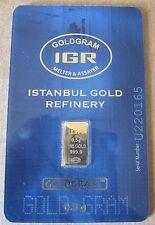 1/2 gram .5 g gold IGR mint certified assay card .9999 bar $0 Ship w/track