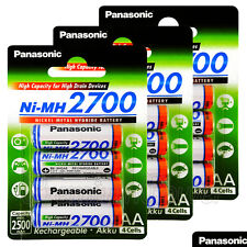 12 x Panasonic AA batteries 2700mAh Rechargeable High capacity Ni-MH Akku LR06