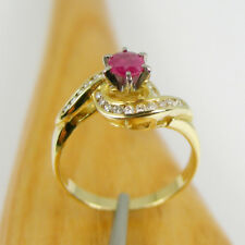 Natural Ruby & Diamonds Engagement Claw Ring Genuine 750 18ct Yellow White Gold