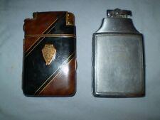 MARATHON  & RONSON Art Deco Black Enameled Cigarette Cases with Lighters