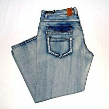 New $120 GS115 Big Mens W48x33L Slim-Straight Jeans Vintage Blue Denim Pants