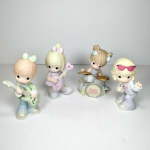 Precious Moments Rocks Band Lot of 4 Figurines Drummer 2 Guitarists Lead Singer